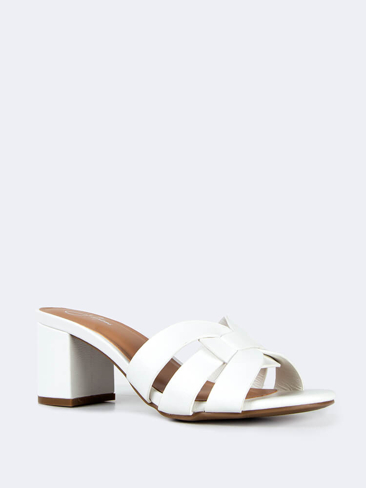 Dressy Slip On Block Heeled Sandals