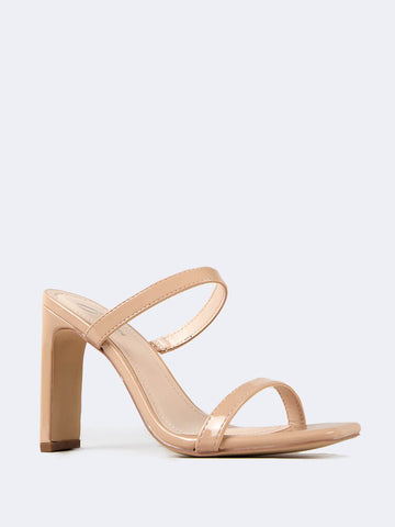 Square Open Toe Slip On Heeled Sandals
