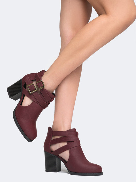 Cut Out Buckle Ankle Bootie