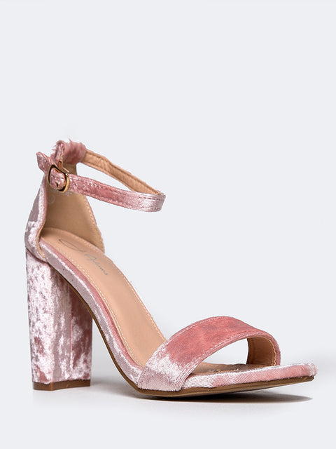 0207184fa6a8 Home › Block Heel Ankle Strap Sandal. Pink Velvet Pink Velvet Pink Velvet  Pink Velvet ...
