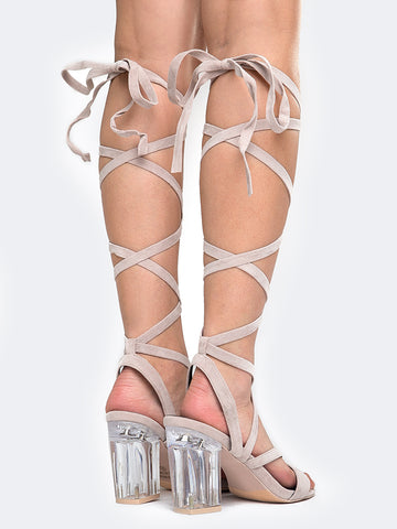 Lace Up Clear Heel Sandal