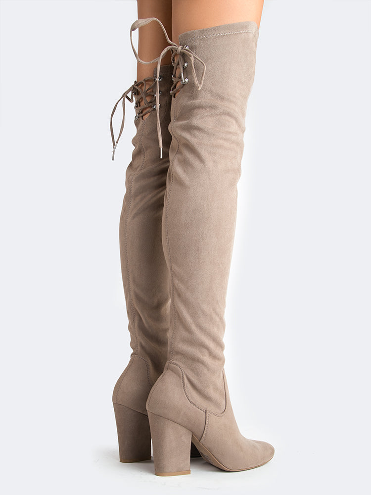 Laced Back Thigh High Boots
