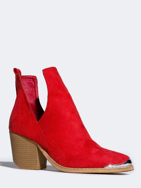 ... Side Cutout Metal Tip Ankle Boot ...