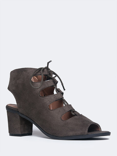Tie Up Peep Toe Gladiator Bootie