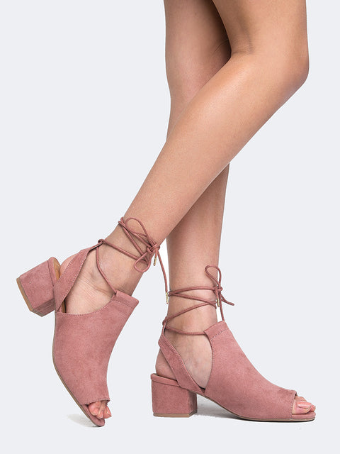 Peep Toe Lace Up Mule