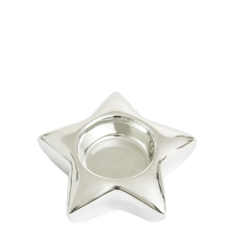 Star Tea Light Holder Silver