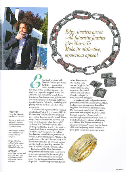 Marco Dal Maso jewellery featured in SOLITAIRE magazine