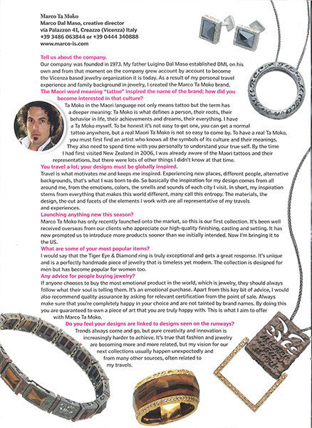 Marco Dal Maso jewellery featured in THE DAILY BIJOUX magazine