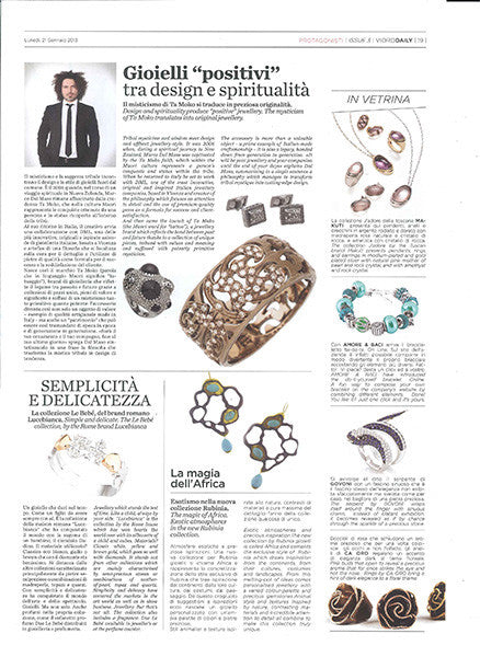 Marco Dal Maso jewellery featured in VIORO DAILY magazine