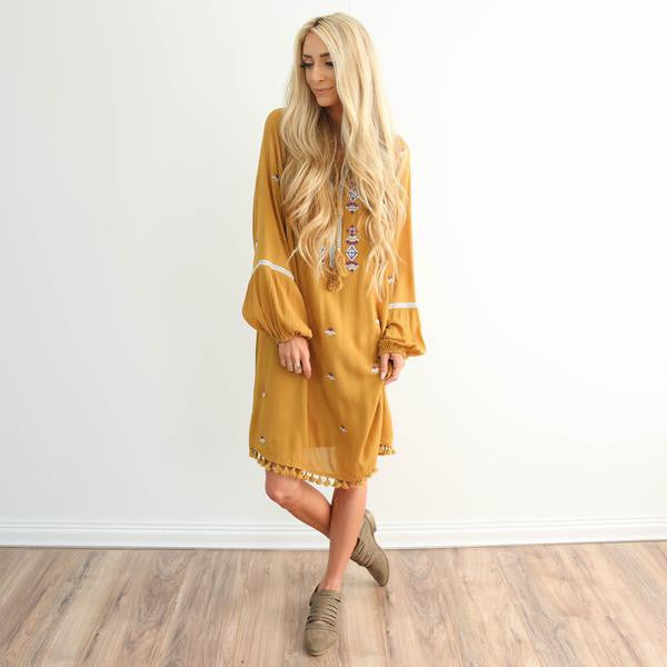 Yellow Embroidered Flowers Dress