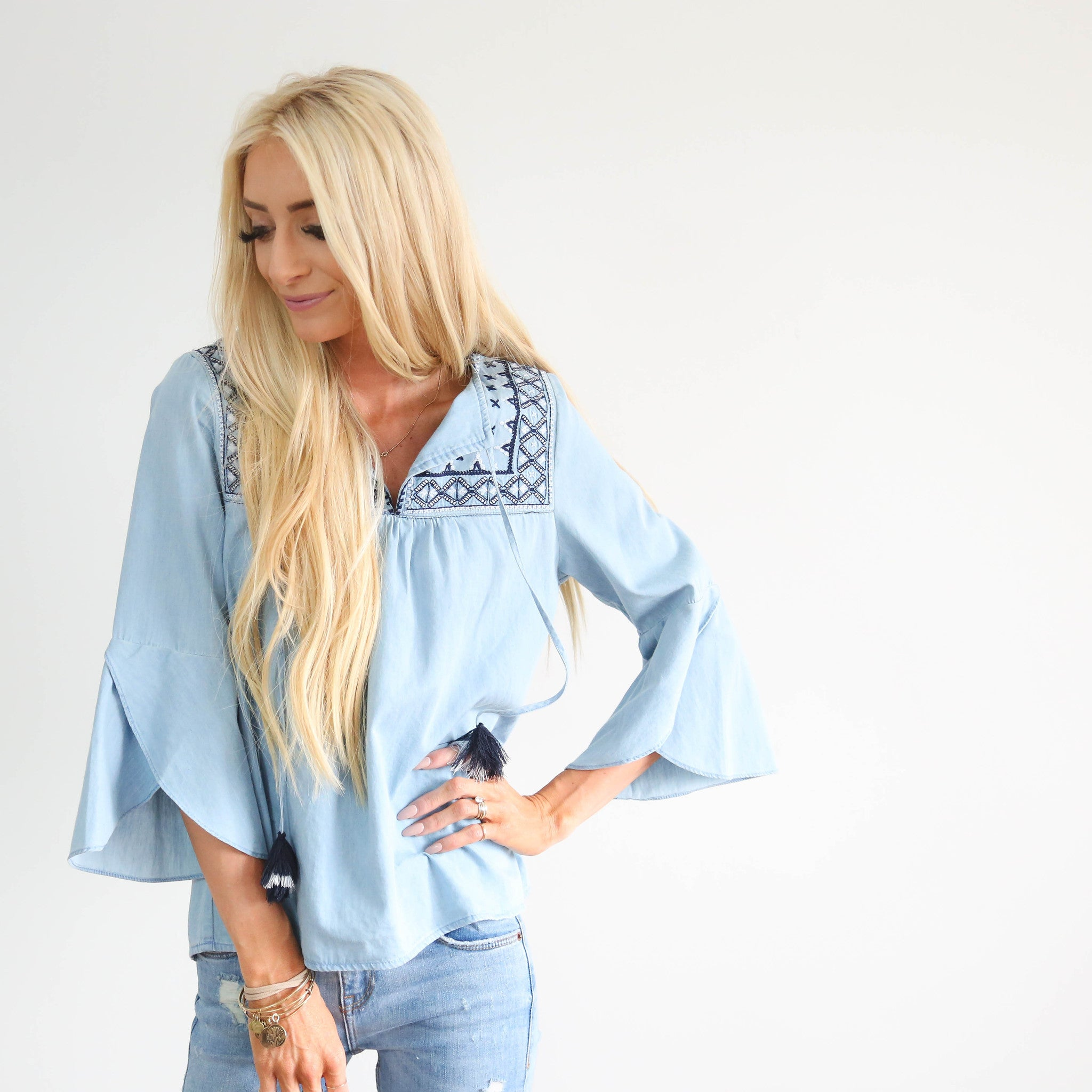 Hazel Denim Top