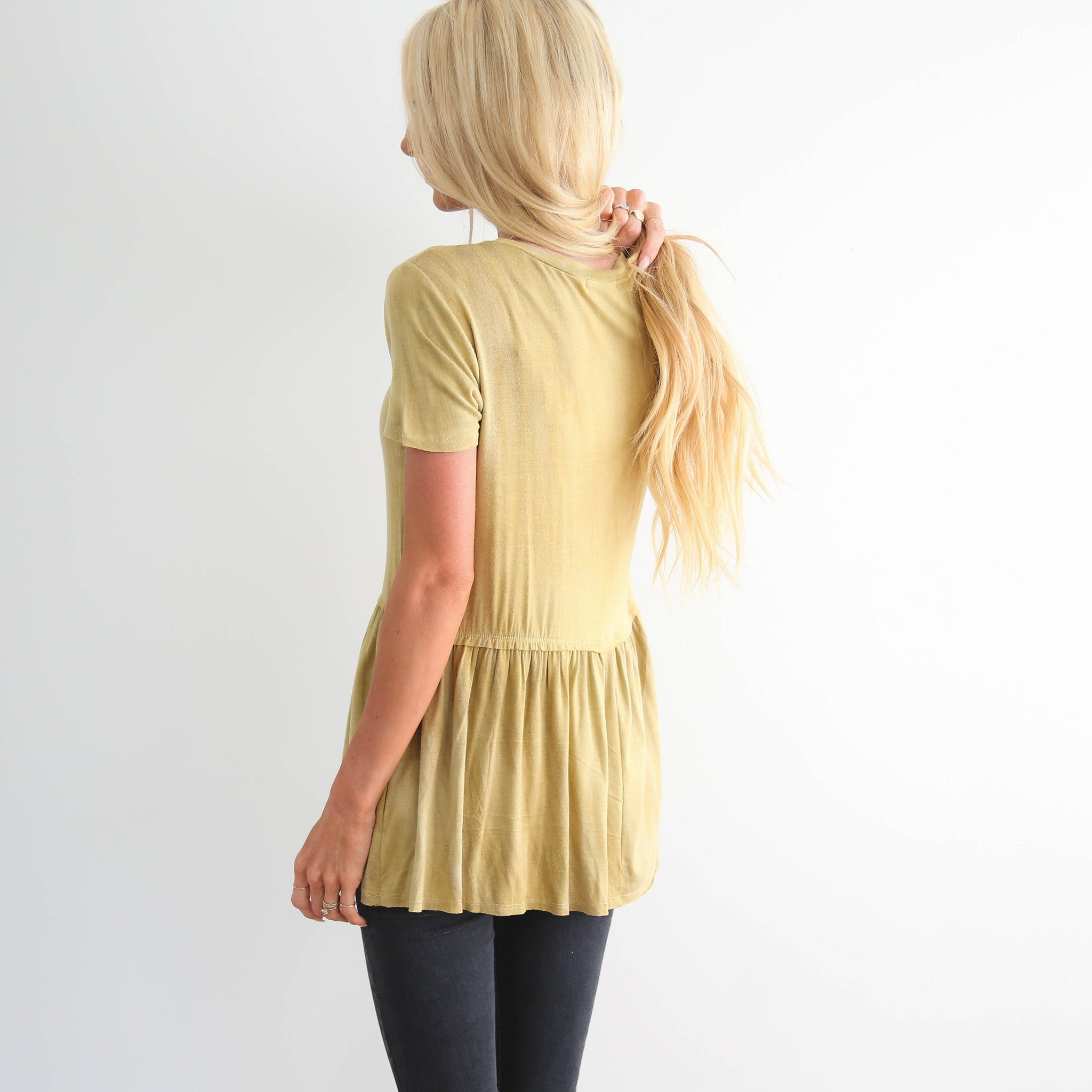 Washed Mustard Yellow Peplum