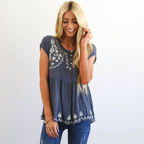 Annette Embroidered Top