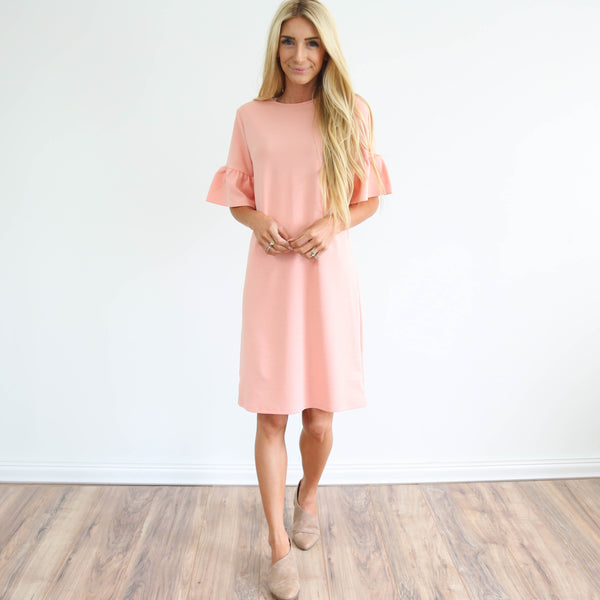 Bell Sleeve Blush Dress