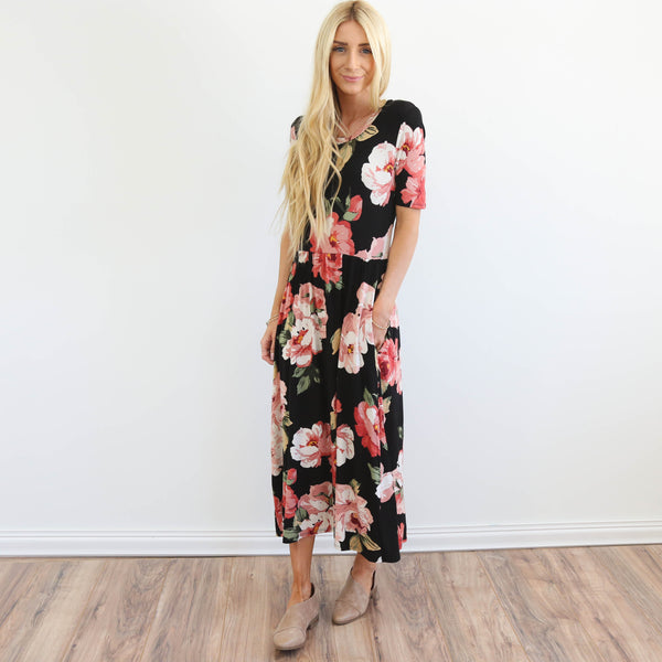 Adonna Floral Dress in Black