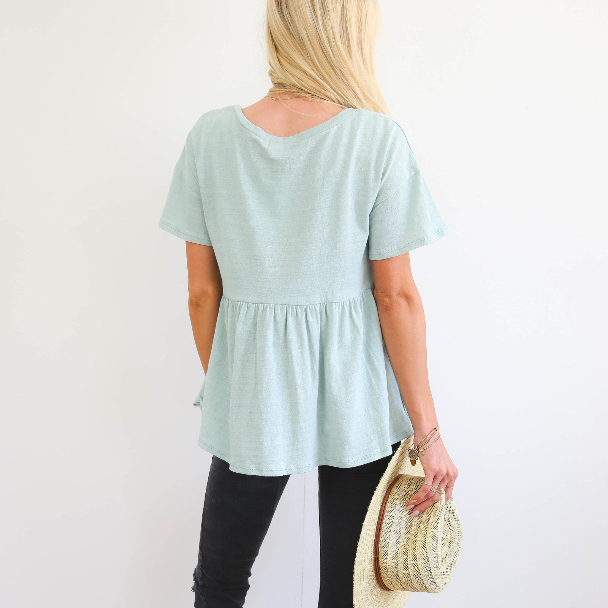 Robyn Peplum in Dusty Mint