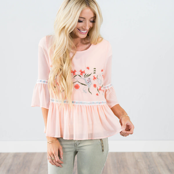 Aulana Embroidered Top