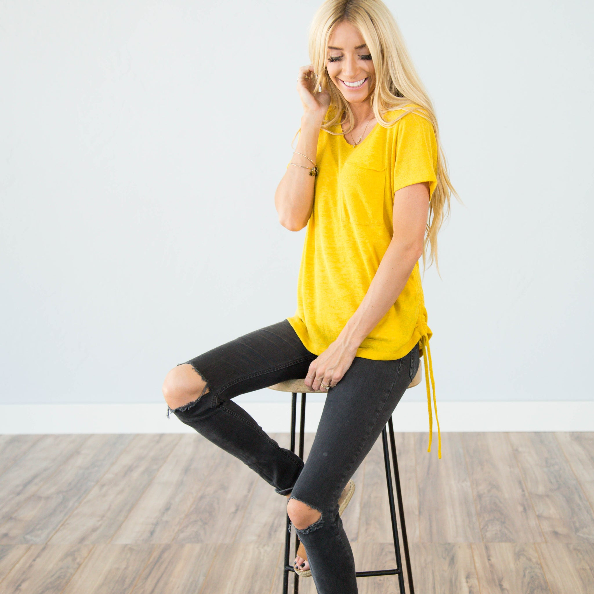 Cinched Top in Mustard