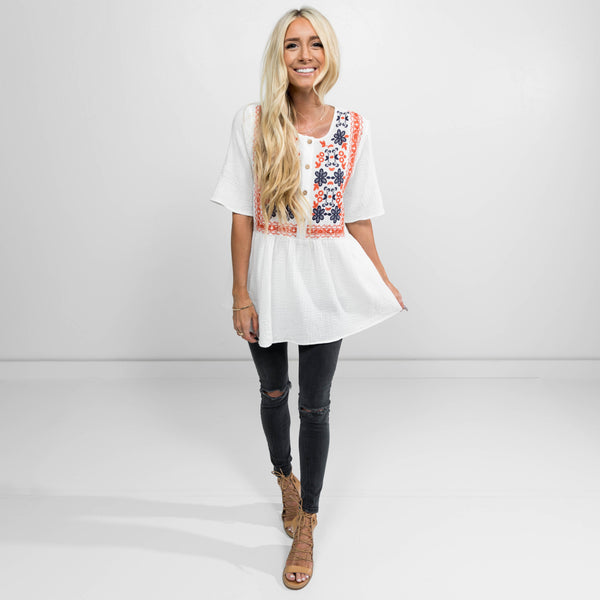 Melanie Embroidered Top