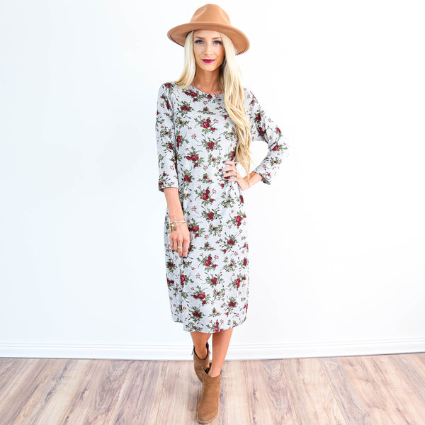 Autumn Roses Midi Dress