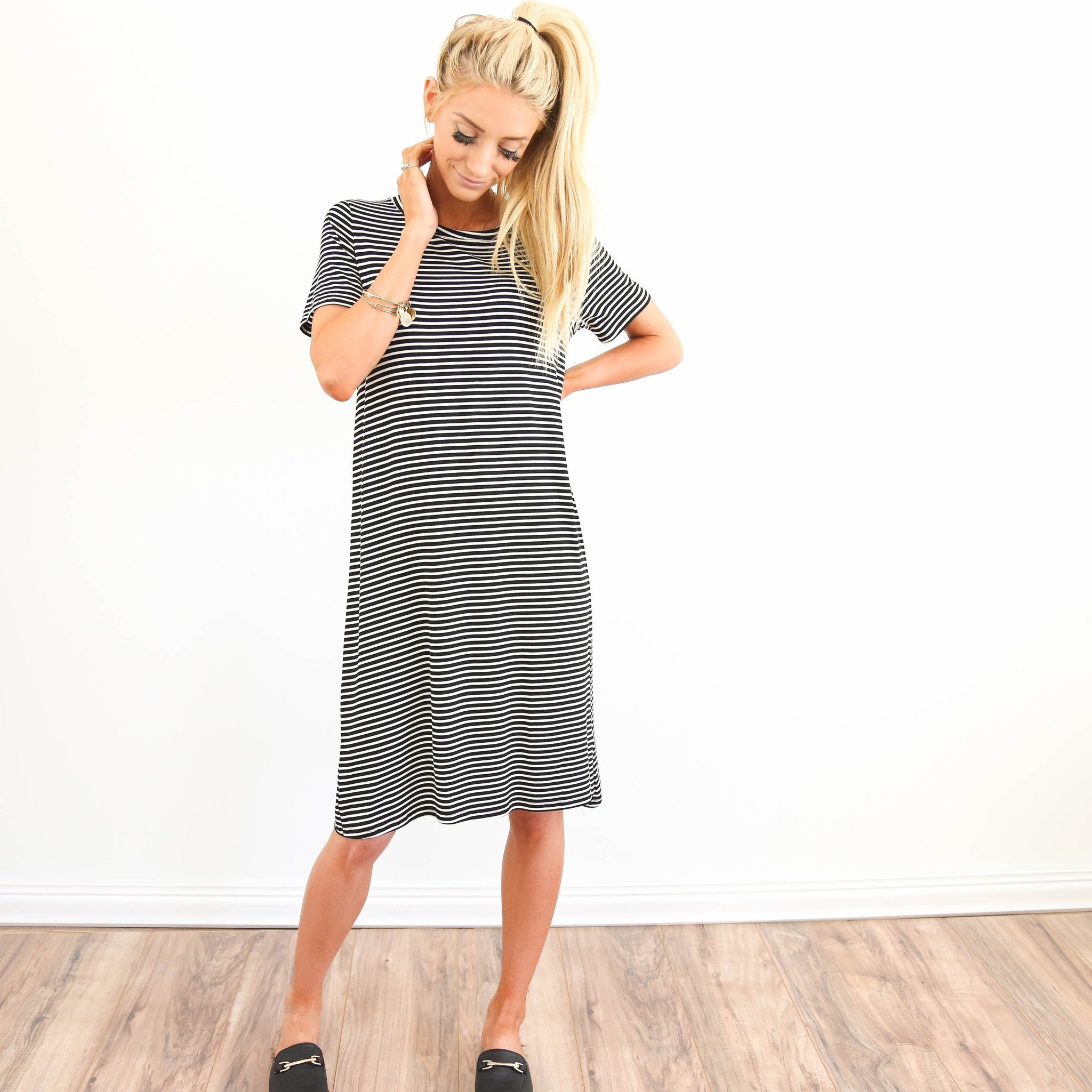 S & Co. Finley Stripe Dress in Black