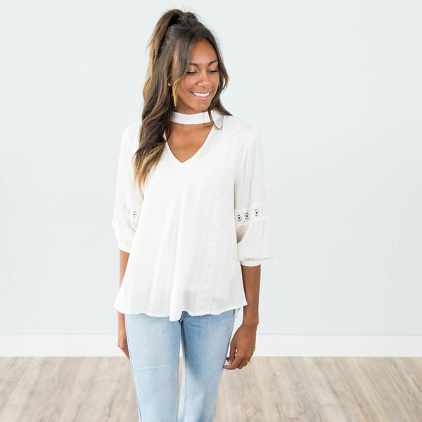 Miranda Lace Top in Ivory