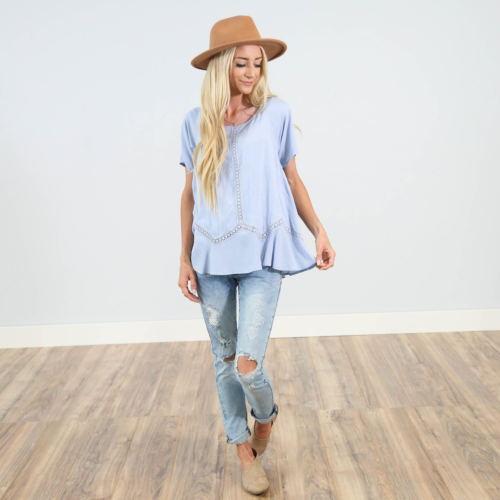 Serenade Top in Dusty Blue