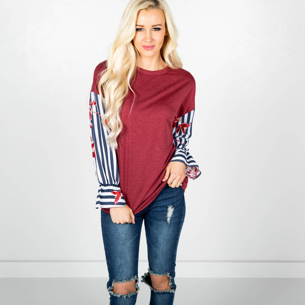 Swanson Sleeve Detailed Top in Berry