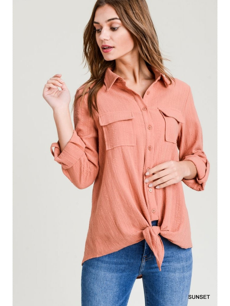Sunset Collared Button-Up Roll Up Sleeve Tie Hem Top