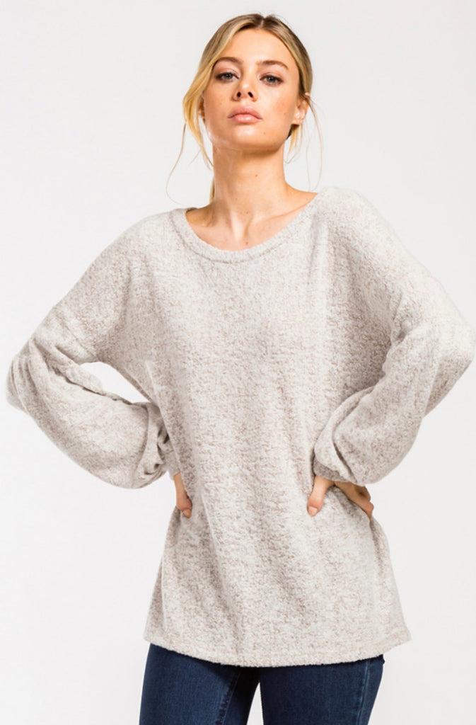Lucy Puff Sleeve Top in Taupe