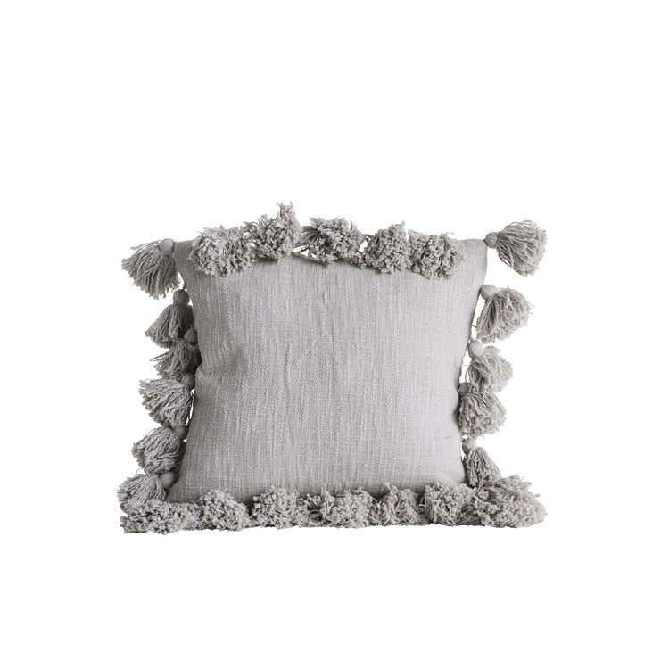 Pom Pillow in Grey