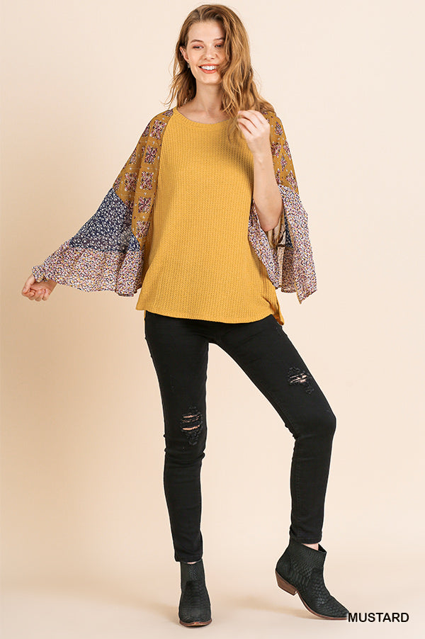 Mustard Floral Scarf Sleeve Top