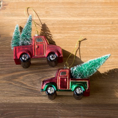 Old Time Truck And Tree Ornament