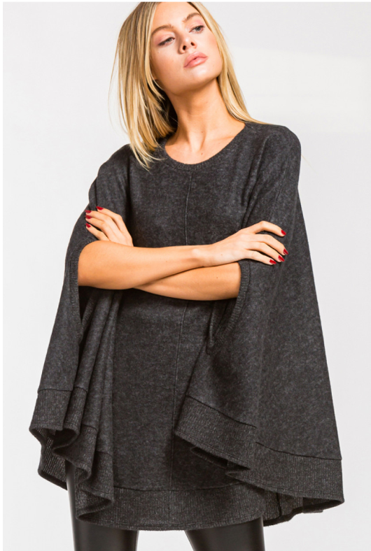 Charcoal Soft Brushed Poncho