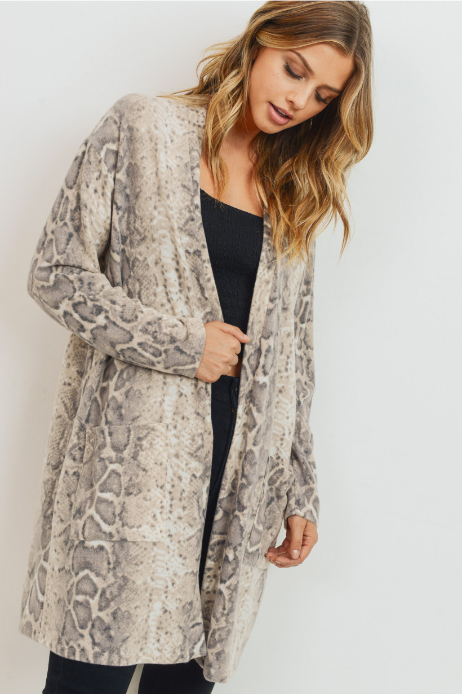 Taupe Snake Skin Cardigan with Pockets