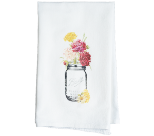 Floral Mason Jar Tea Towel