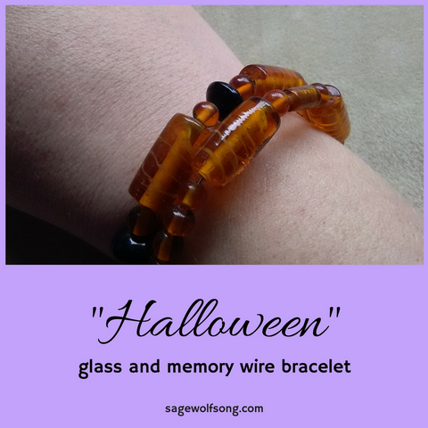 Halloween orange and black glass memory wire bracelet featured product