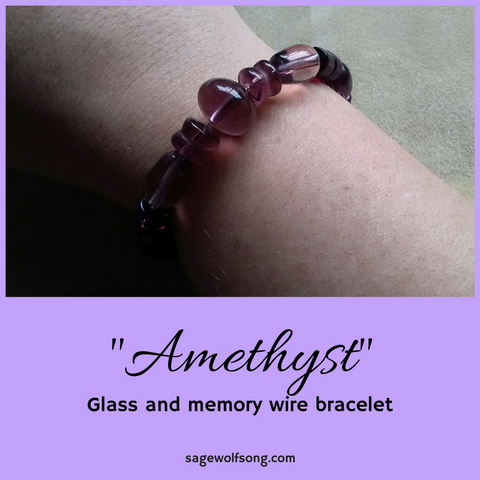 Amethyst glass memory wire bracelet featured product