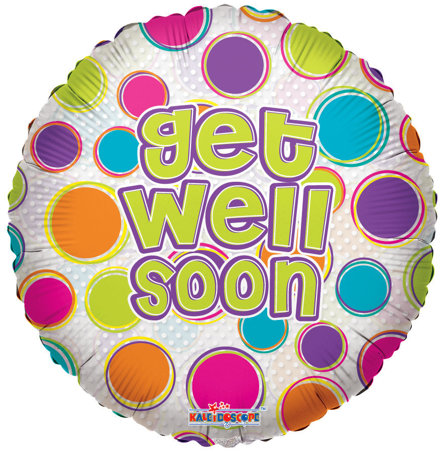 """18 Get Well Dots Clear View Balloon"