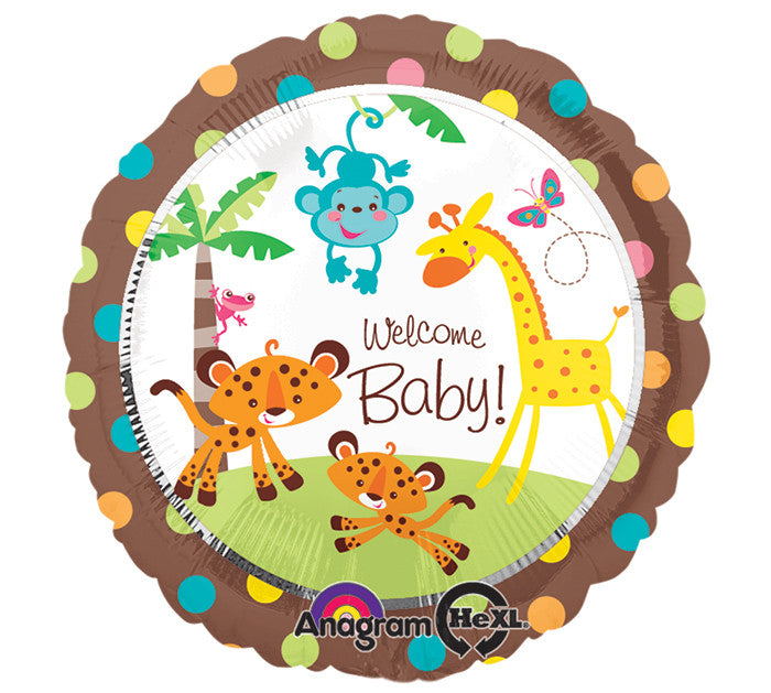 "17"" Welcome Baby Jungle Balloon"