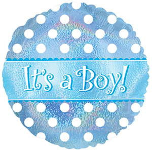 "18"" It's a Boy/Girl Dots Holograph Balloon"