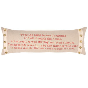 "Pillow. ""TWAS THE NIGHT BEFORE CHRISTMAS"""