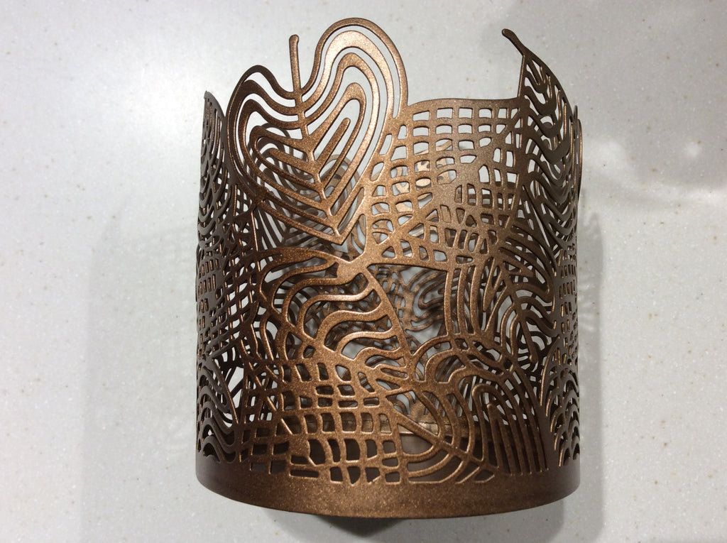 Jar Candle Holder Linear Leaves