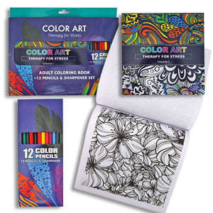 Adult Coloring Book and Pencils Set Adult Coloring Book and Pencils Set