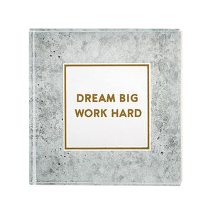 "Paperweight 3""x3"". Glass. ""Dream Big"""