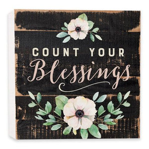 Count Your Blessings Wood Block Sign