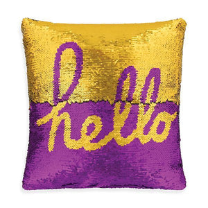 "Pillow. Two Tone Sequin Pillow ""HELLO"""