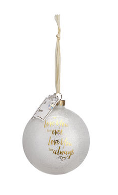 Love You Forever Glass Ball Ornament with Gift Tag