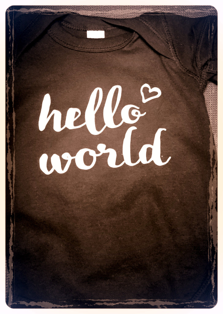 "Black ""Hello World"" Onesie"