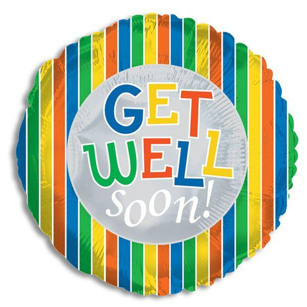 "18"" Get Well Stripes Foil Balloon"
